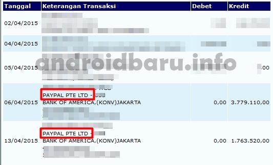 Bukti Pembayaran WHAFF Rewards Transfer Masuk Rekening Bank Indonesia