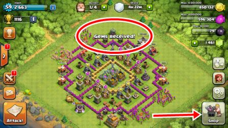 Free Bag of Gems Clash of Clans