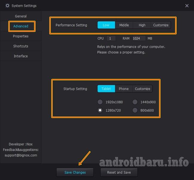 pengaturan android emulator NOX agar tidak lag